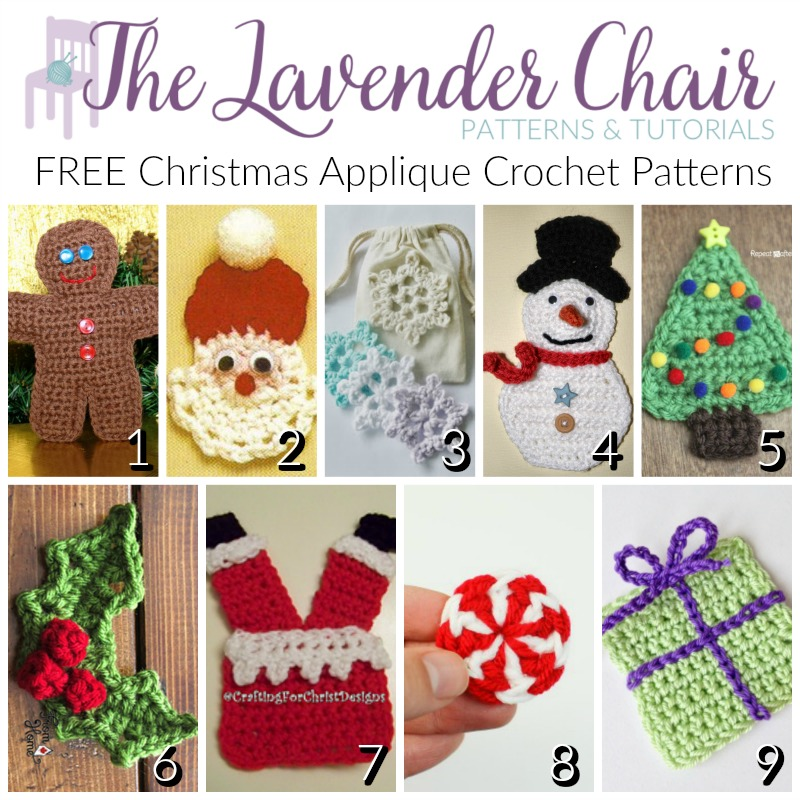 FREE Christmas Applique Crochet Patterns - The Lavender Chair