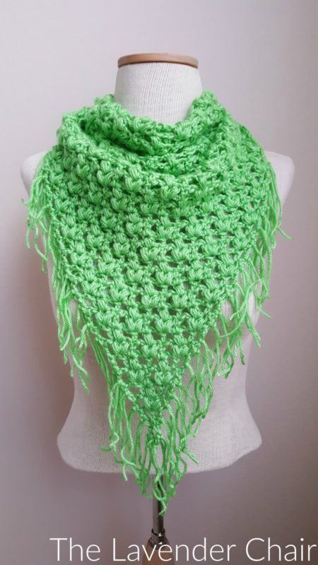 Free Crochet Pattern For Triangular Scarf : Clover Puff Triangle Scarf Crochet Pattern - The Lavender ...
