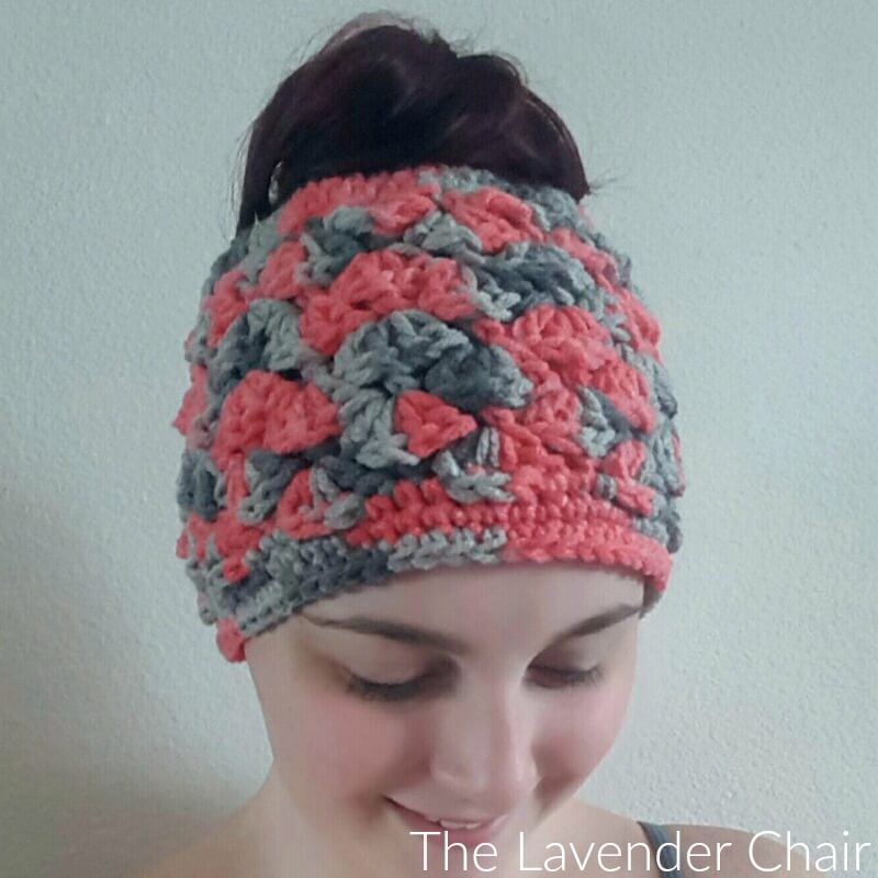Shelbys Messy Bun Beanie Crochet Pattern - The Lavender Chair