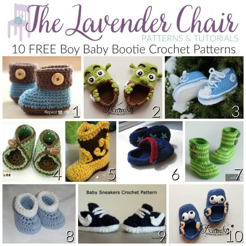Free Baby Bootie Crochet Patterns For Boys The Lavender Chair
