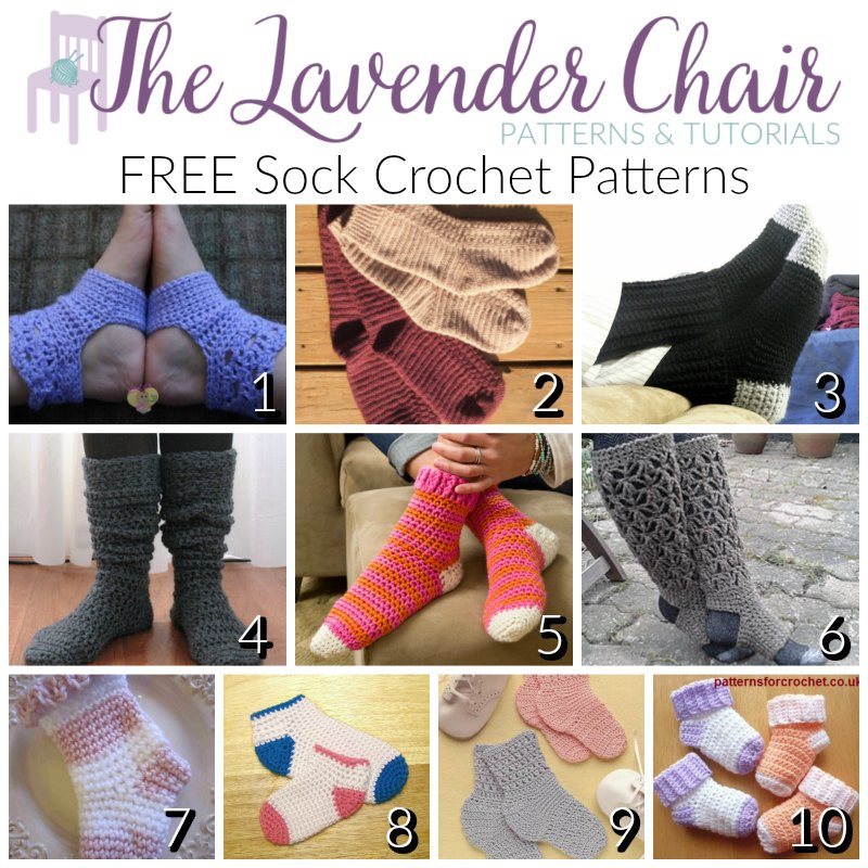 FREE Sock Crochet Patterns - The Lavender Chair