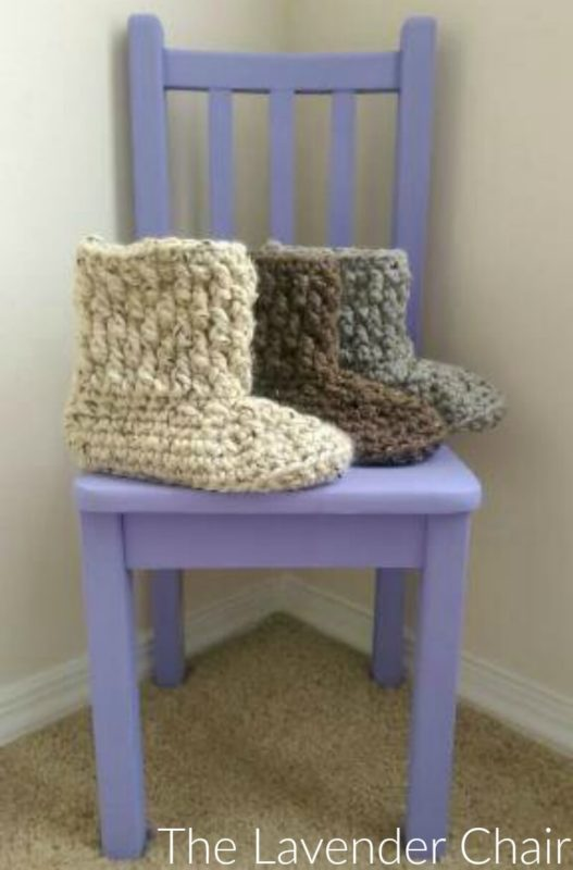 Brickwork Slipper Boots - Free Crochet Pattern - The Lavender Chair