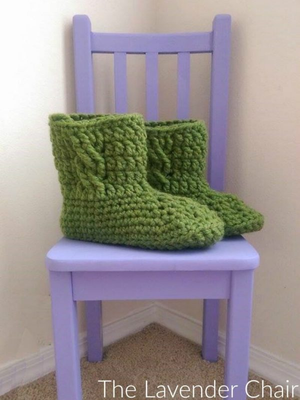Cabled Slipper Boots - Free Crochet Pattern - The Lavender Chair
