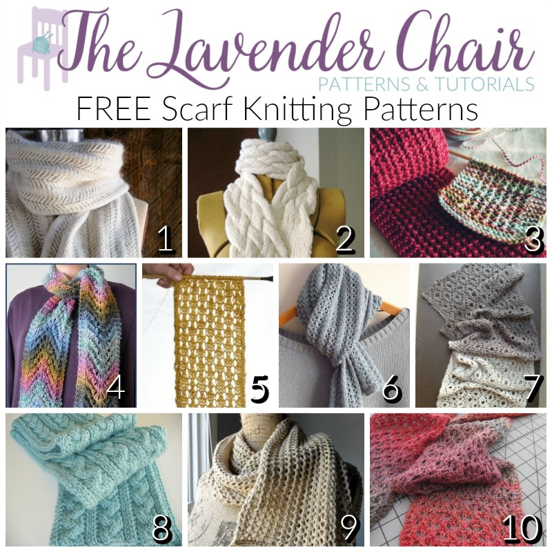 FREE Scarf Knitting Patterns The Lavender Chair