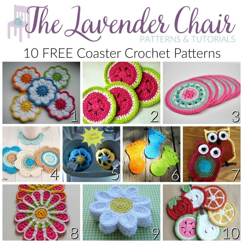 FREE Coaster Crochet Patterns - The Lavender Chair