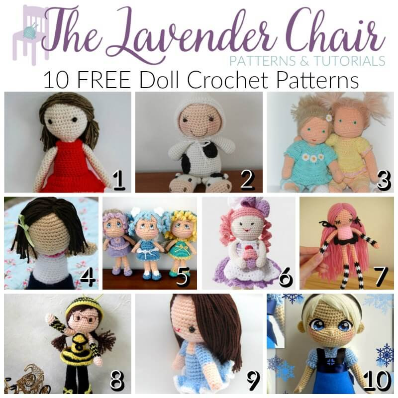 Free Crochet Amigurumi Doll Pattern Tutorials | Crochet dolls free ... | 800x800