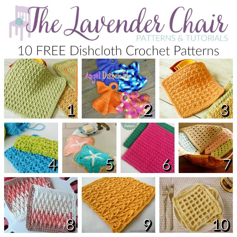 Free Dishcloth Crochet Patterns - The Lavender Chair