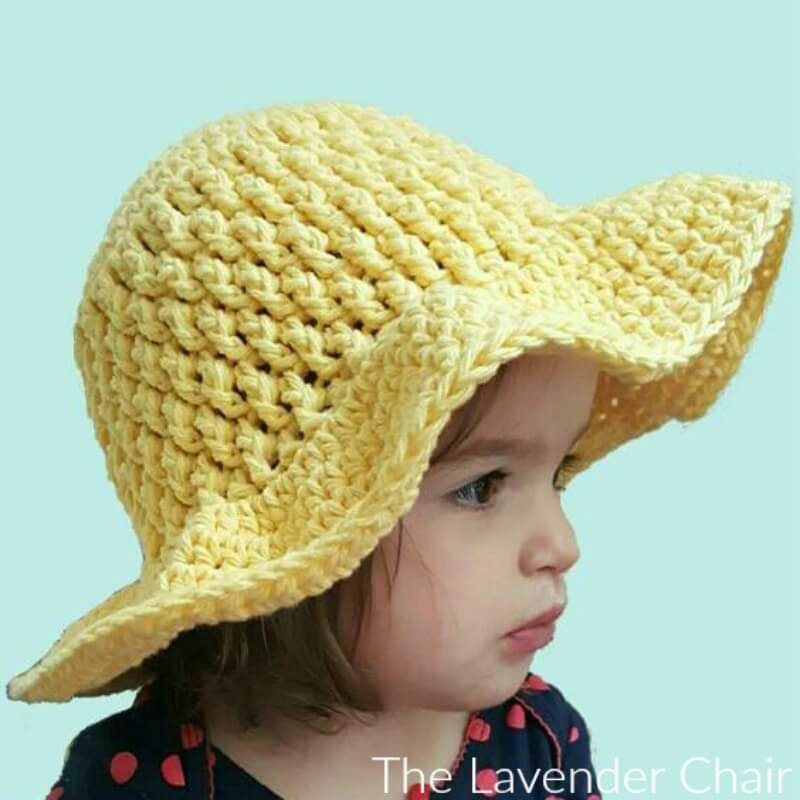 Brickwork Summer Sun Hat (Infant - Child) - Free Crochet Pattern - The Lavender Chair