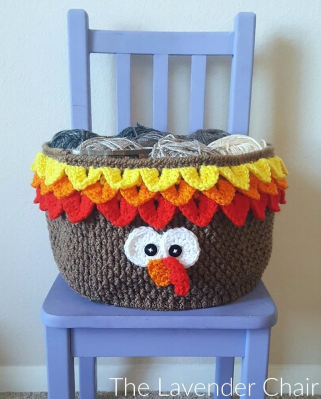 Turkey Yarn Basket - Free Crochet Pattern - The Lavender Chair