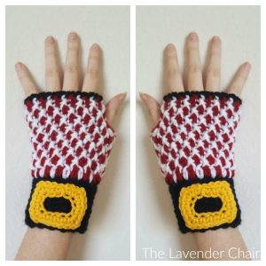 Mrs. Claus's Fingerless Peppermint Gloves Crochet Pattern