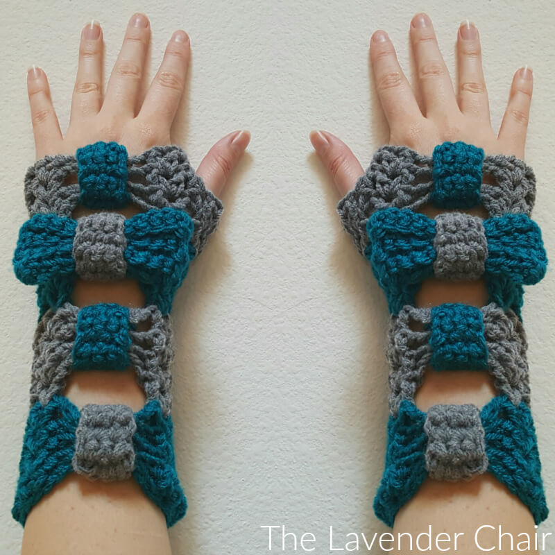 Valerie's Cinched Bow Fingerless Gloves - Free Crochet Pattern - The Lavender Chair