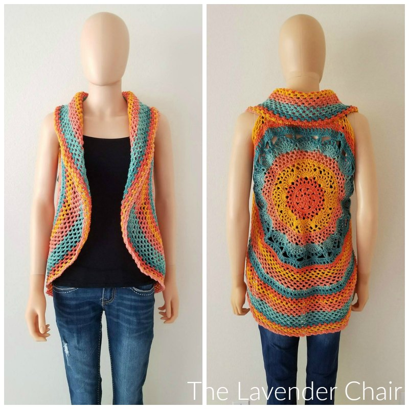 Sunset Mandala Circular Vest - Free Crochet Pattern - The Lavender Chair