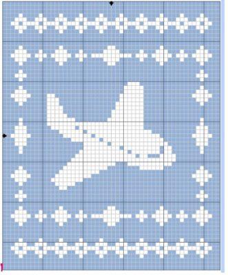 Filet Airplane Blanket Graph - Free Crochet Pattern - The Lavender Chair