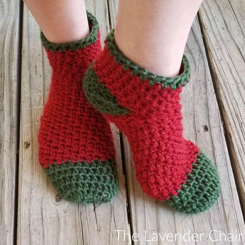 Holly Jolly Christmas Socks - Free Crochet Pattern - The Lavender Chair
