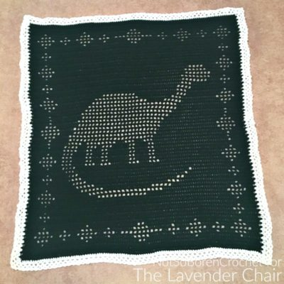 Filet Dinosaur Blanket Crochet Pattern