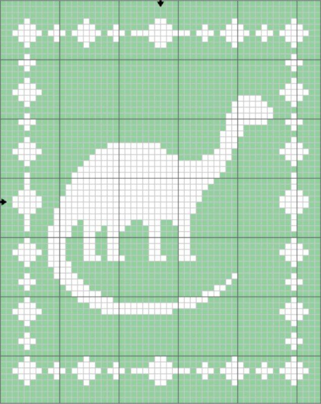Filet Dinosaur Blanket Graph - The Lavender Chair
