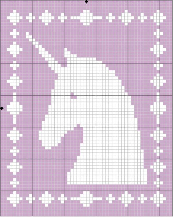Filet Unicorn Blanket Graph - The Lavender Chair