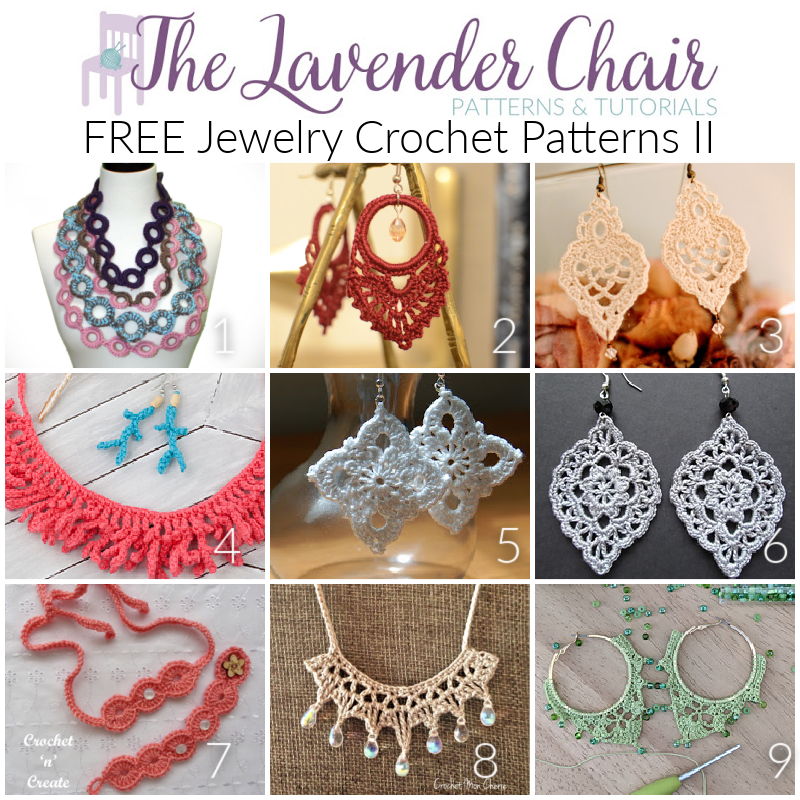 FREE Jewelry Crochet Patterns - The Lavender Chair