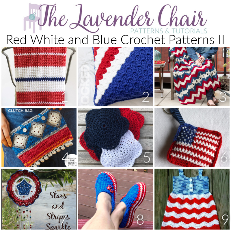 Red White and Blue Crochet Patterns II - The Lavender Chair