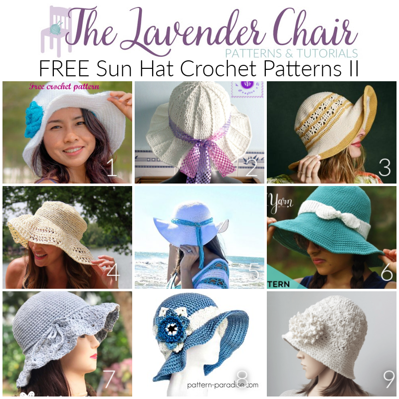 Free Sun Hat Crochet Patterns II - The Lavender Chair