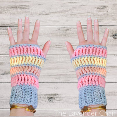 Read more about the article Sunset Treble Fingerless Gloves Crochet Pattern