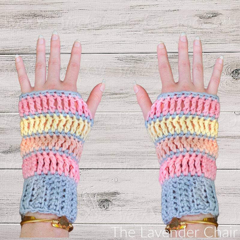 Sunset Treble Fingerless Gloves - Free Crochet Pattern - The Lavender Chair